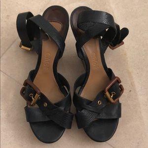 Navy Blue Chloe Wedge Sandals
